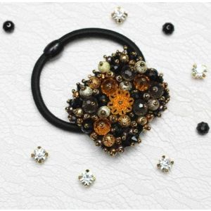 "Beaded hair tie ""Night moon"""