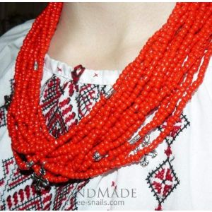 "Beaded necklace ""Coral joy"""