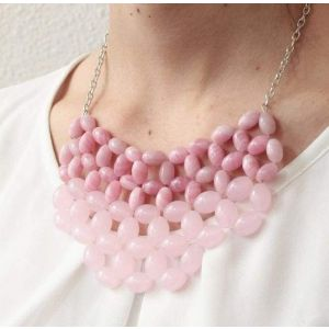 "Beaded necklace ""Pink stone"""