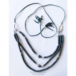 "Beaded necklaces ""Emerald dance"""