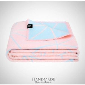 "Bed throw ""Blue and pink souffle"""