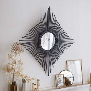 Black rattan handmade mirror