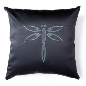 "Black decorative cushion ""Dragonfly"""