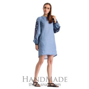 "Blue embroidered dress ""Sky blue"""