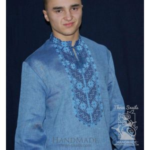 "Blue men shirt with embroidery ""Blue shades"""
