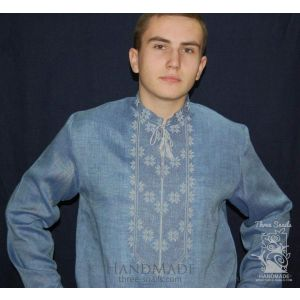 "Blue men shirt with embroidery ""Water"""
