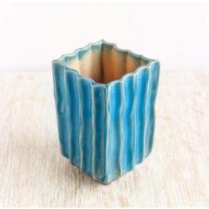 "Blue texture pot for cactus ""Blue caramel"""