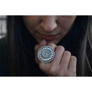 Boho round silver ring