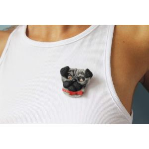 "Brooches ""Pug-dog with bow"""