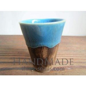 """Brown round pot for cactus """"Blue lace"""""""