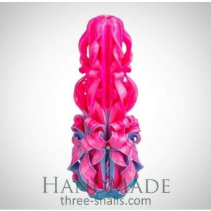 """Carved candle """"Pink peony"""""""