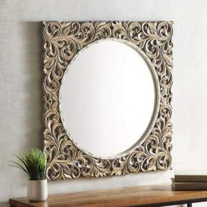 Carved square mirror