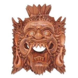 Carved wood mask Yama God of the Dead