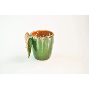"Ceramic coffee cup ""Green wings"""
