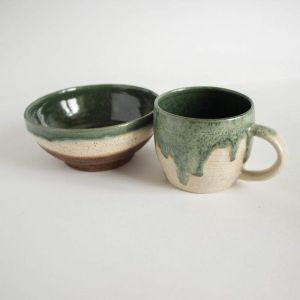 "Ceramic cups and bowls set ""Green design"""