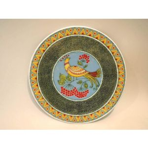 "Ceramic decorative plate ""Nightingale and viburnum"""