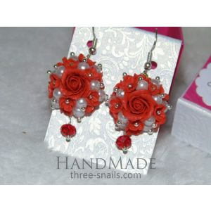 "Ceramic earrings ""Flower princess"""