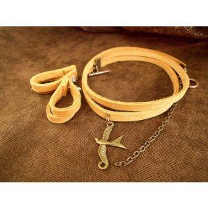"Choker necklace and earrings set ""Cinnamon"""