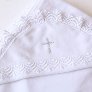 Christening blanket with rhinestones