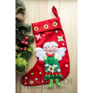 "Christmas stocking ""Angel"" with applique"