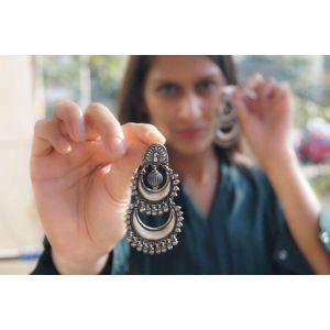 Chunky dangle silver earrings