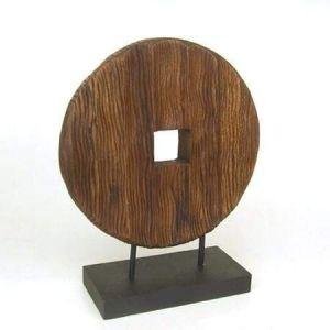 Circular carving wood decor stand