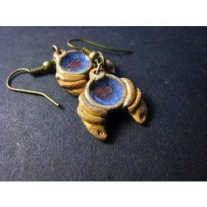"Clay earrings ""Charming moon"""