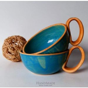 "Clay tea cups set ""Blue dream"""
