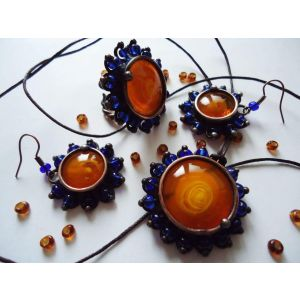 "Copper and crystal jewellery set ""Bohemic"""