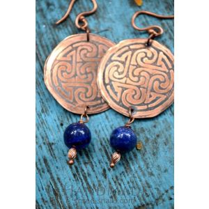 Copper earrings with lapis lazuli