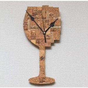 Cork wall clock Wineglass
