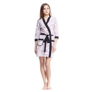 Cotton bathrobe. Woman fancy bathrobe