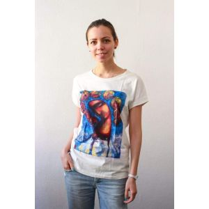 "Cotton T-shirt ""The girl on a blue background"" women"
