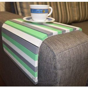 "Couch armrest tray ""Green stripes"""
