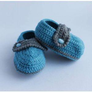 "Crochet baby booties""Cornflowerblue fileld"""