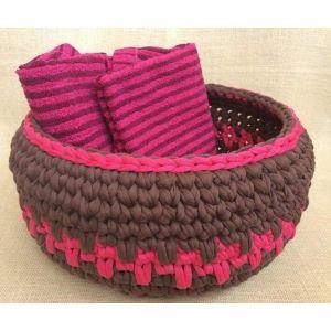 "Crochet basket ""Choco-Raspberry"""