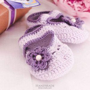"Crochet booties""Violet rhapsody"""