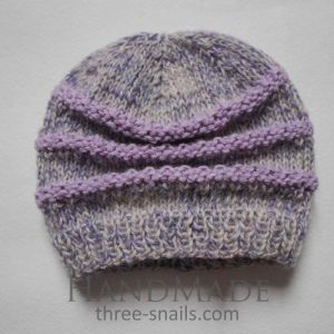 "Crochet infant hat ""Gray and violet mix"""