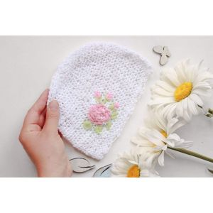 "Crochet infant hat ""Pink flower"""
