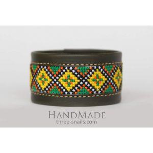 "Cuff style bracelets embroidery ""Olive"""
