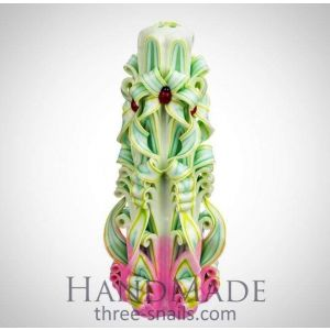 """Curly carved candle """"Mint jujube"""""""