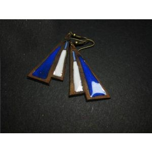 "Dangle triangle earrings ""Blue and White"""