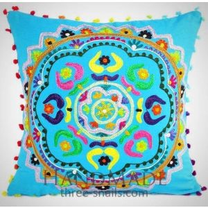Decorative pillow cover with embroidery