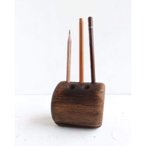 Decorative rustic pen holder brown
