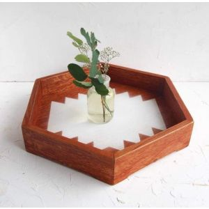 "Decorative wooden hexagon tray ""Zigzag"""