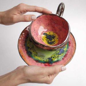 "Designer's ceramic tea cup set ""Summer Splash"""