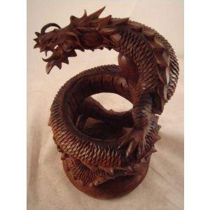 Dragon artisan crafted wood sculpture