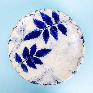 Blue leaf plate
