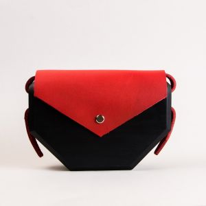 Red and black clutch bag