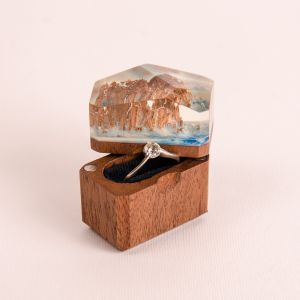 Oak wood resin ring box